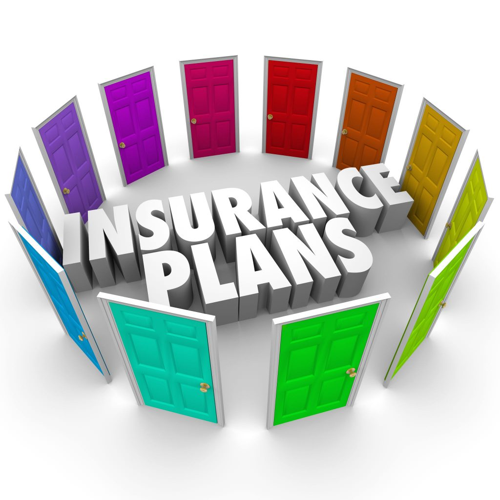 insurance plans words in the middle of many colored doors illustrating the several confusing options for you to compare and decide which policy and coverage is best for you