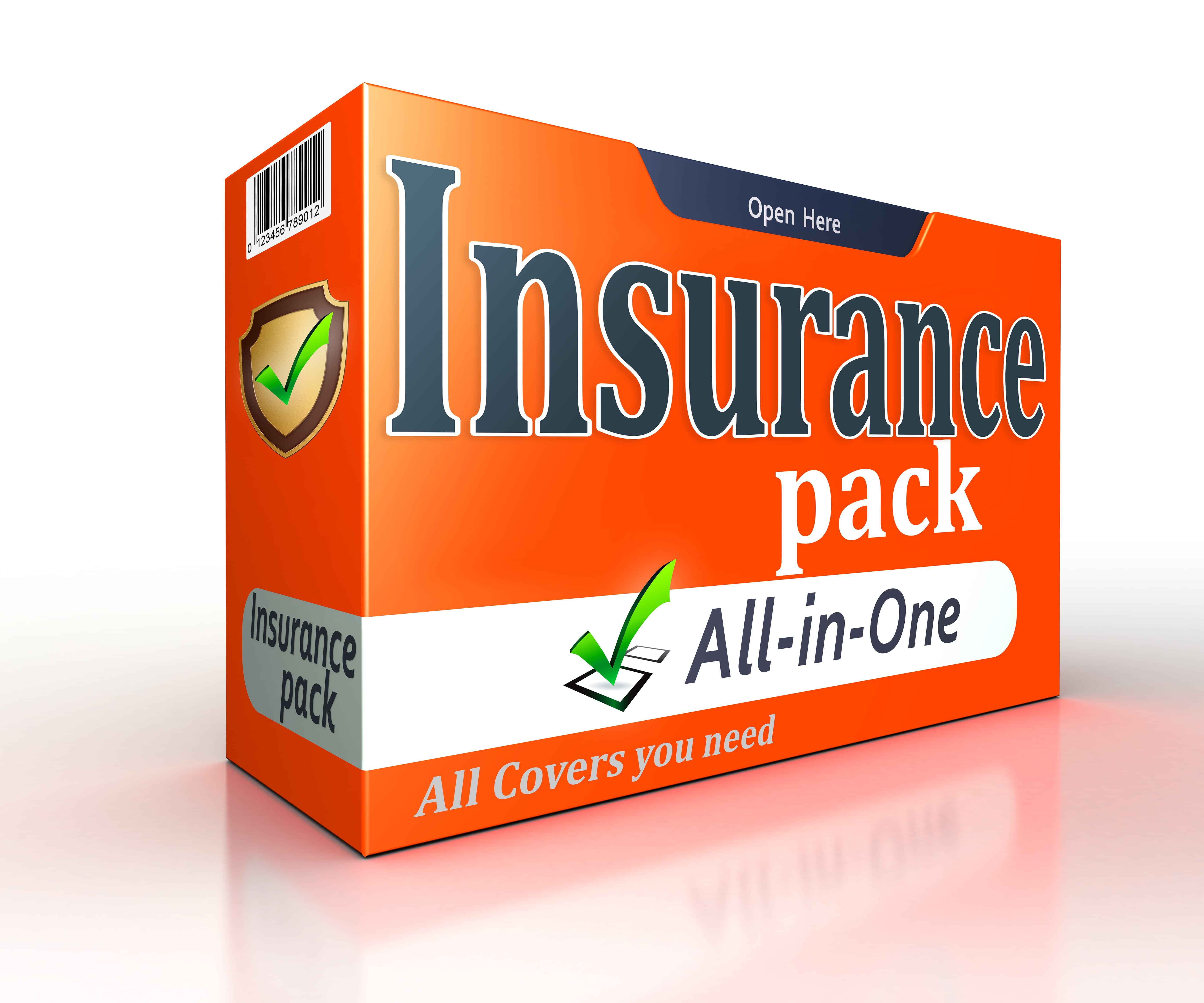 insurance-orange-pack-concept-on-white-background-clipping-path-included